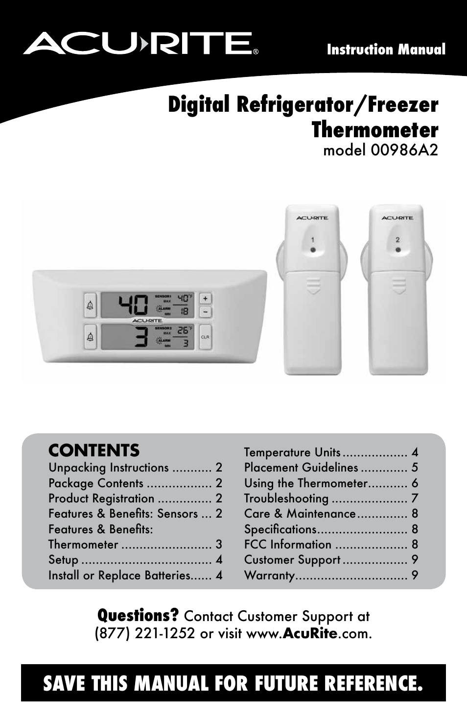 Acurite 00986 Thermometer User Manual 10 Pages
