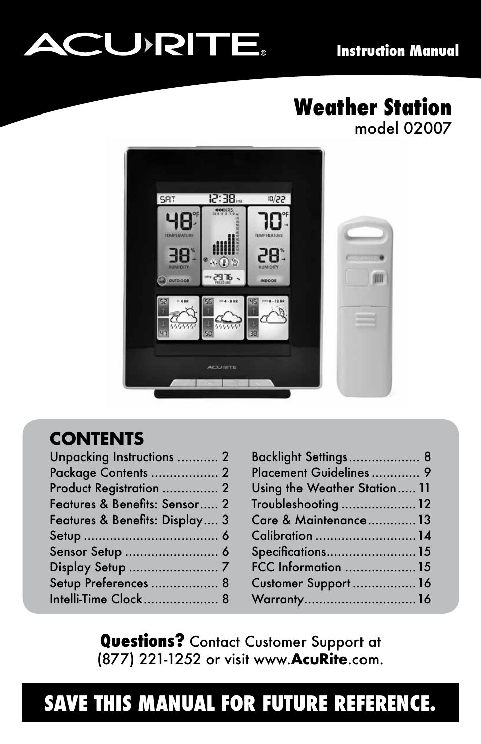Acurite 02007 Weather Station User Manual Manual Guide