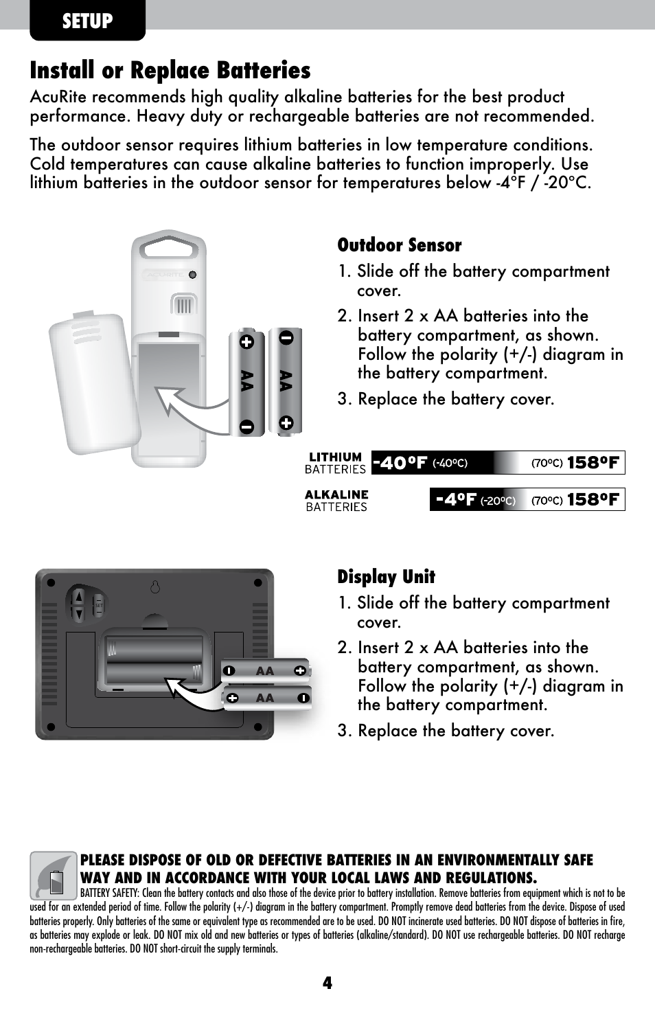 Install Or Replace Batteries Setup Outdoor Sensor Acurite 00621 Alkaline Battery Diagram Weather Station User Manual Page 4 12