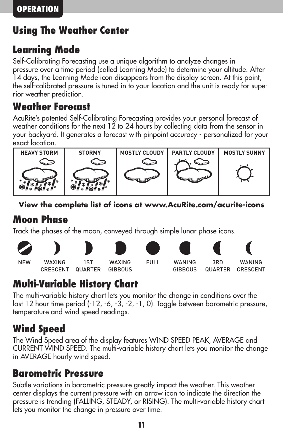 Using The Weather Center Learning Mode Forecast Moon Phase Acurite 00634 Station User Manual Page 11 16