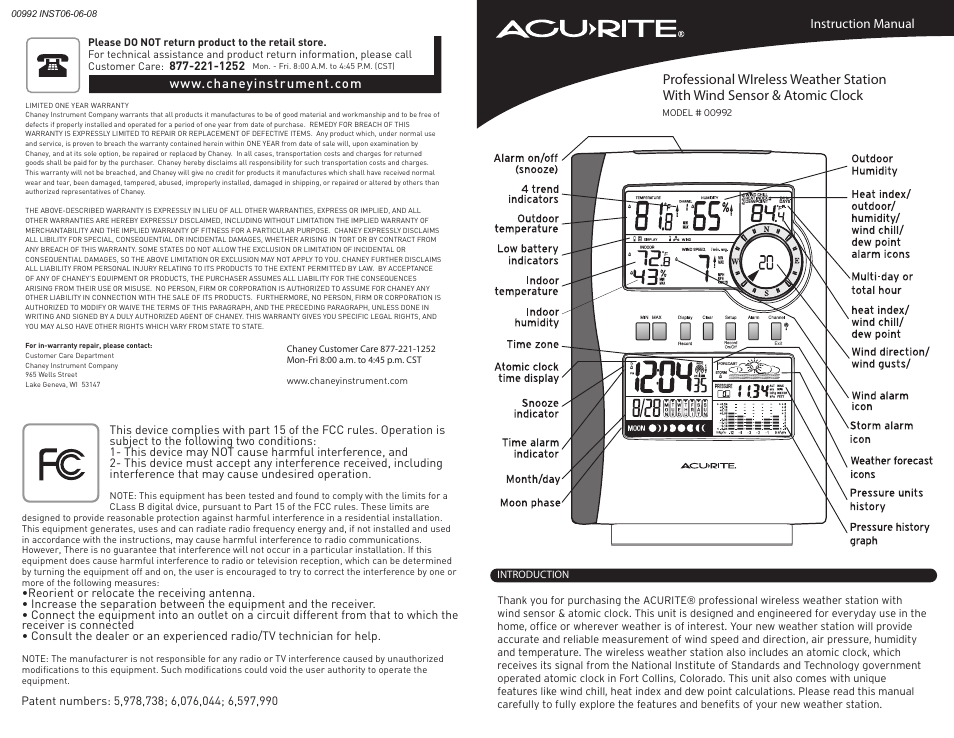 Acurite 00992 Weather Station User Manual Manual Guide