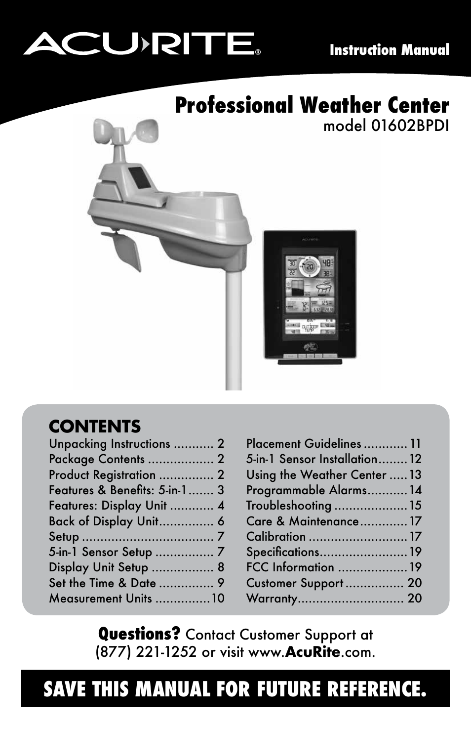 Acurite 01602bpdi Weather Station User Manual Manual Guide