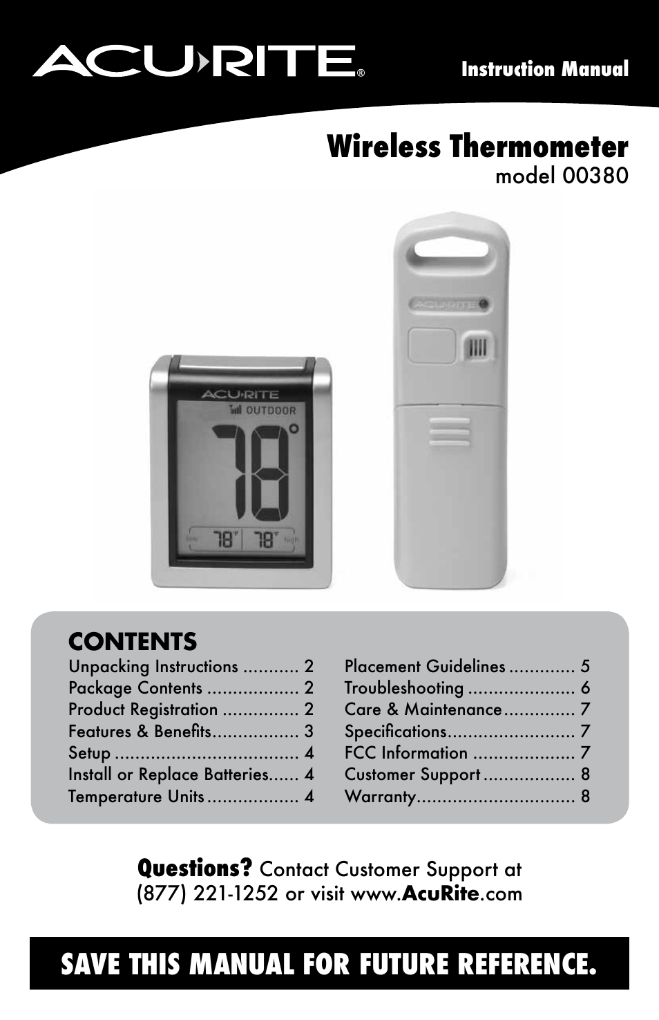 Acurite 00380 Thermometer User Manual Manual Guide