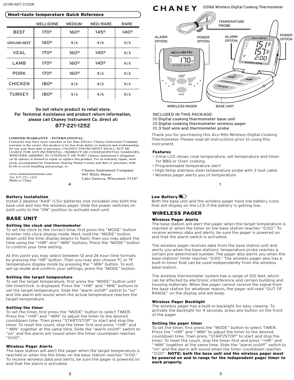 Acurite 03166 Thermometer User Manual Manual Guide
