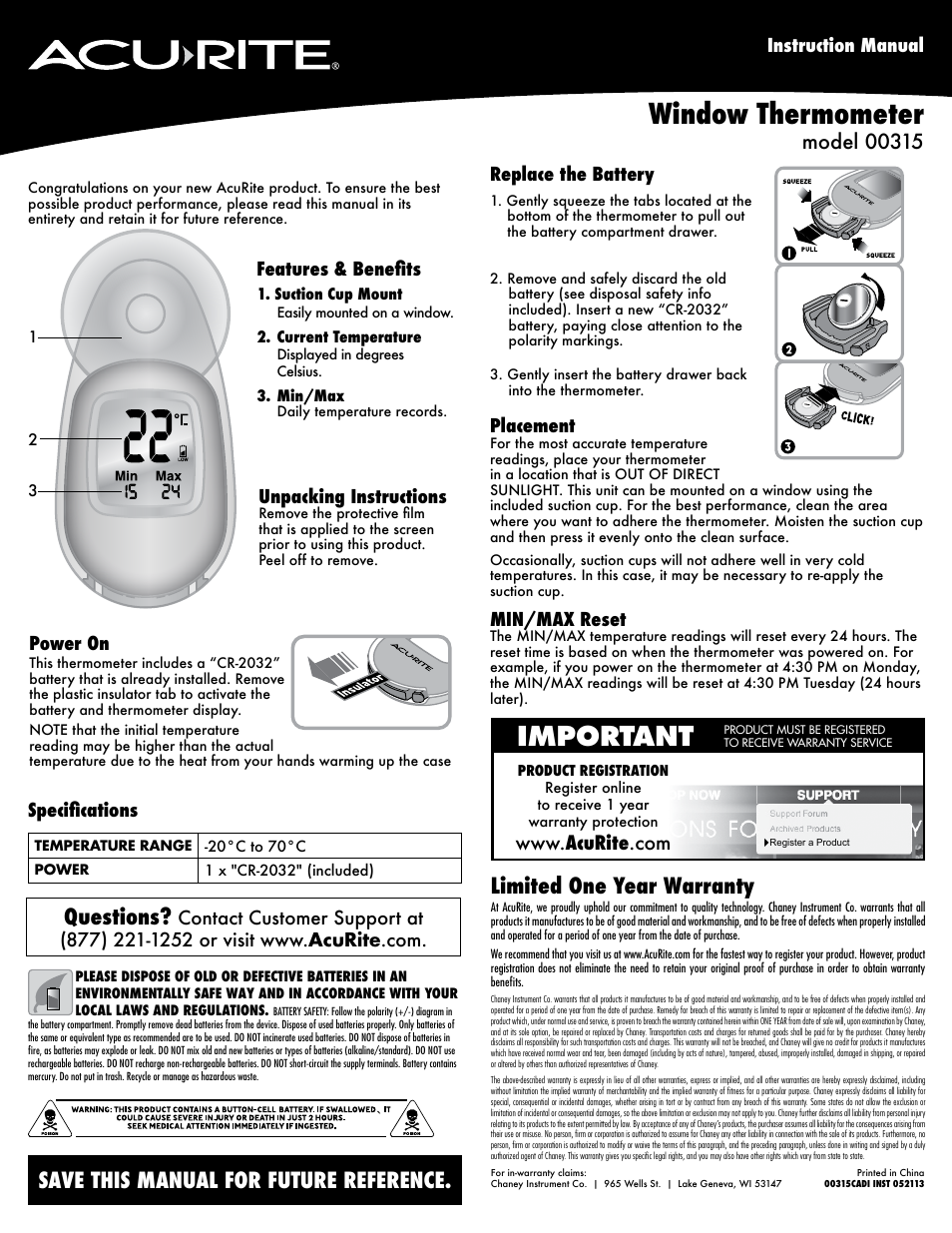 Acurite 00318 Thermometer User Manual Manual Guide