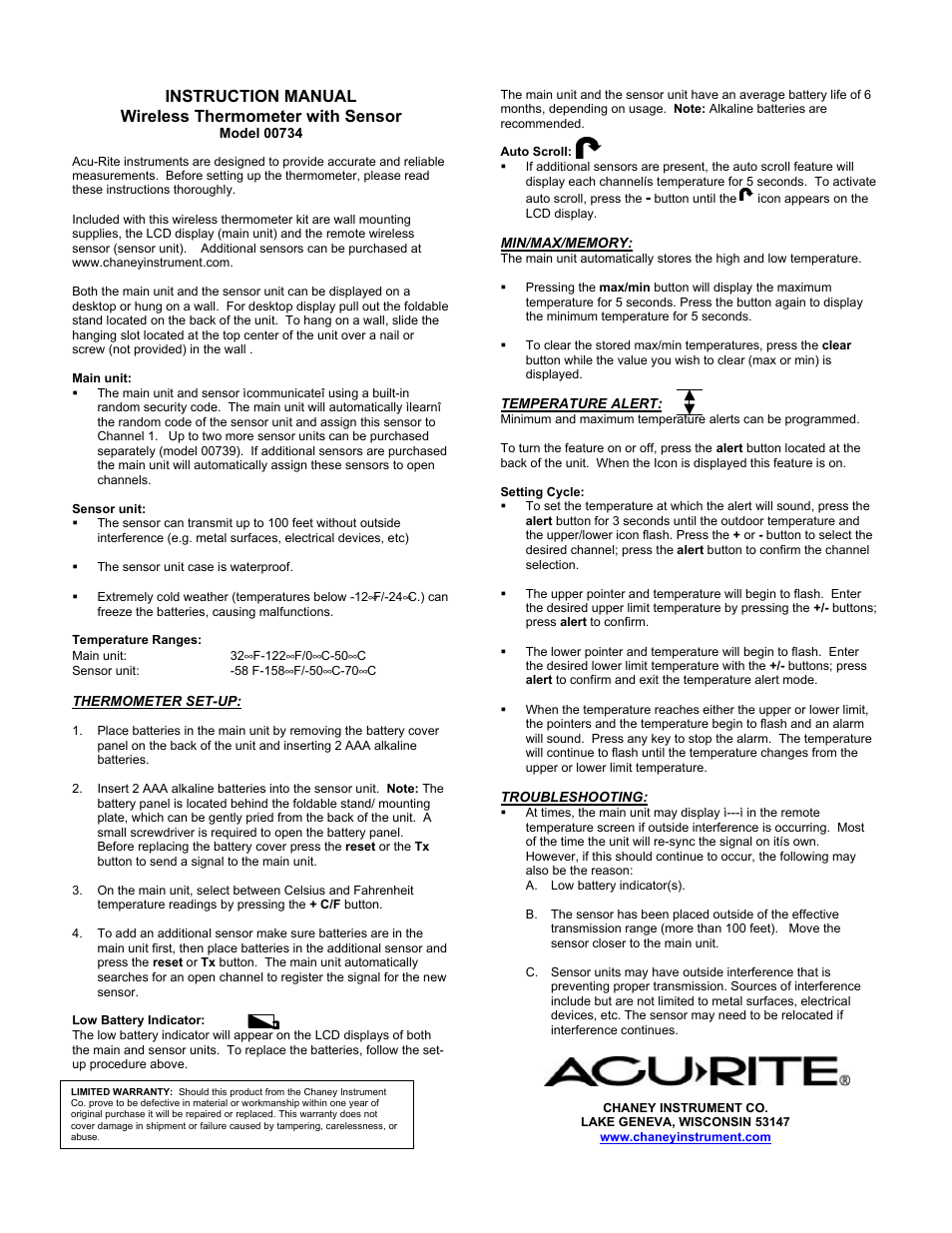 Acurite 00734 Thermometer User Manual Manual Guide