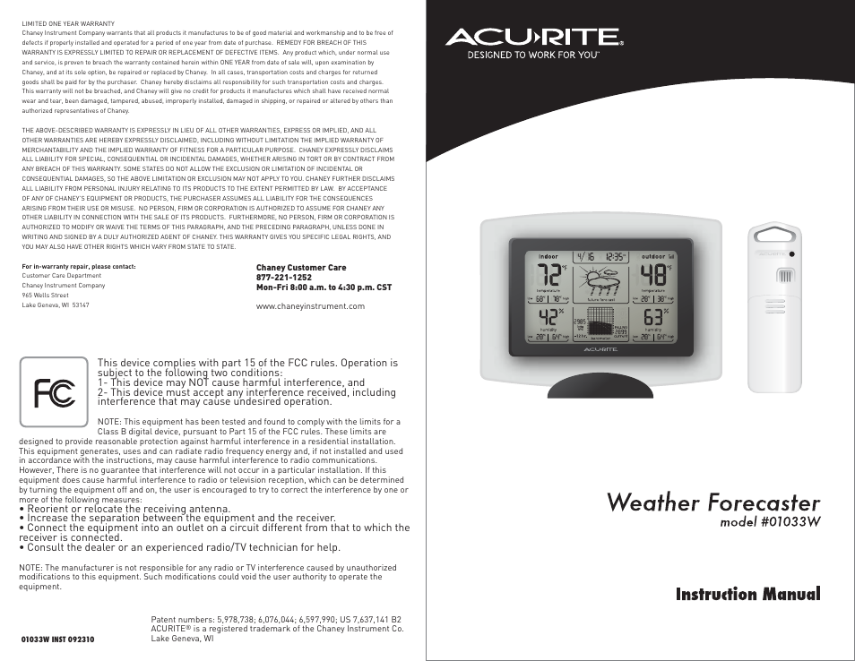 Acurite 01033 Weather Station User Manual Manual Guide