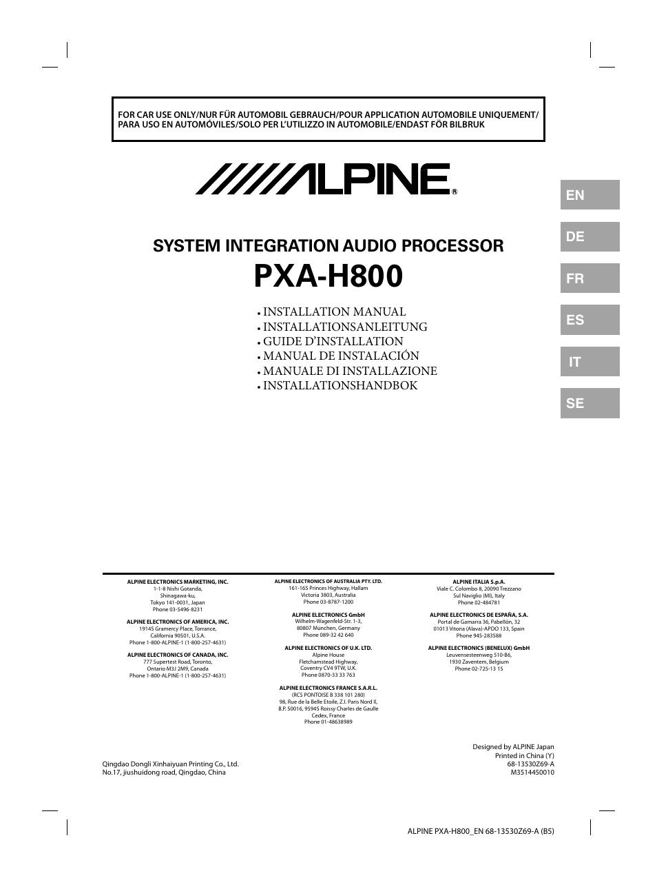 alpine pxa h800 user manual 21 pages rh manualsdir com Alpine PXA- H100 Review Alpine PXA H900
