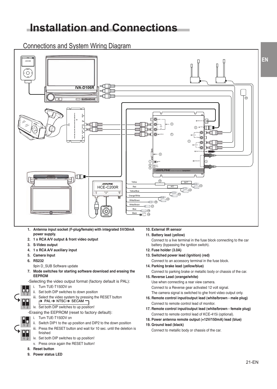Installation And Connections  Connections And System Wiring Diagram  Precautions