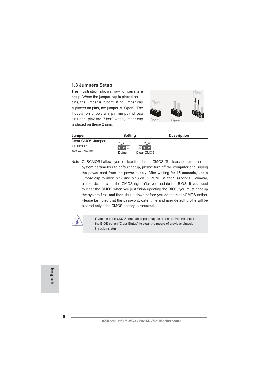 English 1 3 jumpers setup   ASRock H61M-VG3 User Manual   Page 8 / 48