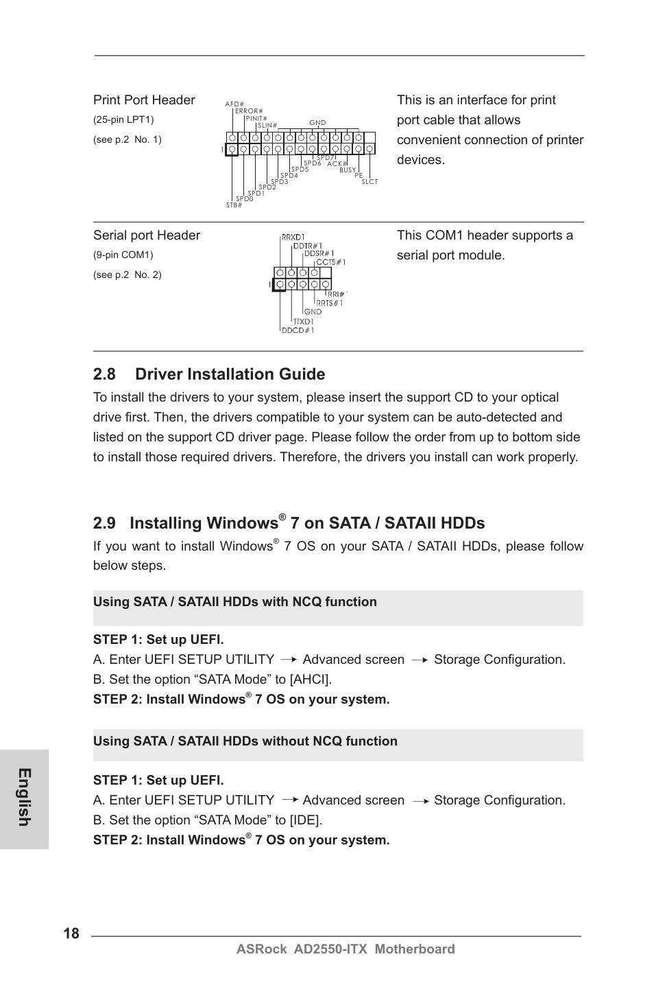 English 2 8 driver installation guide, 9 installing windows