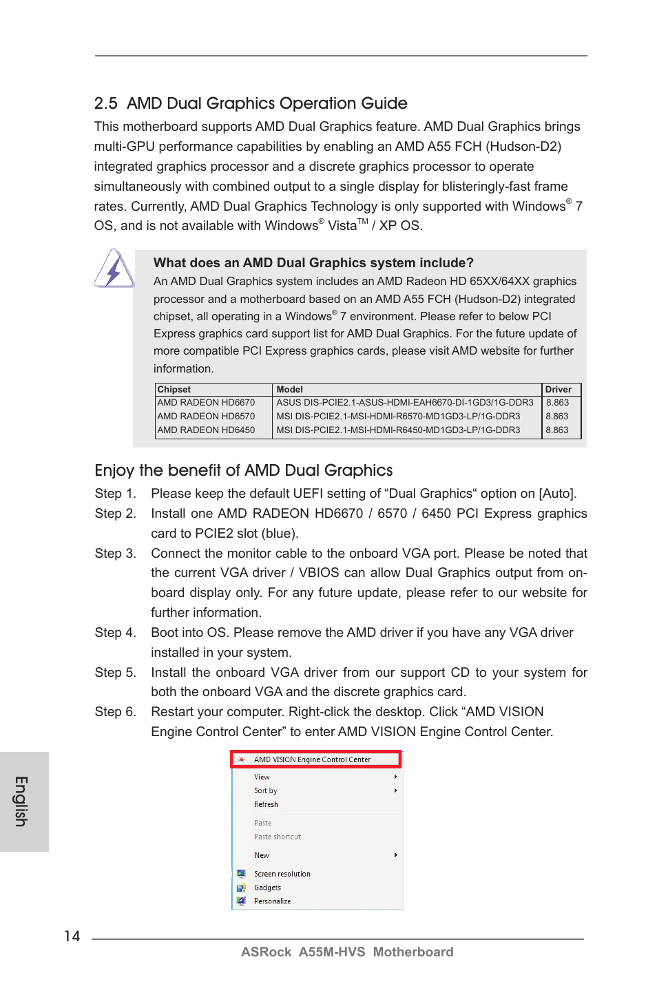 English 2 5 amd dual graphics operation guide, Enjoy the benefit of