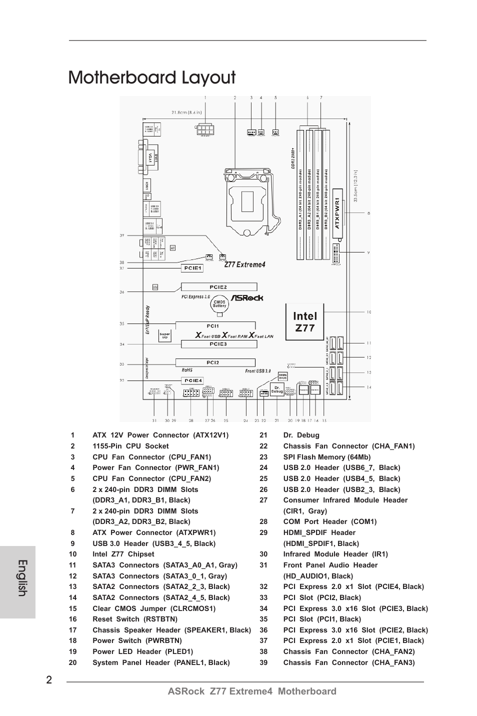 Motherboard layout, English, Asrock z77 extreme4 motherboard | ASRock Z77  Extreme4 User Manual | Page 2 / 221
