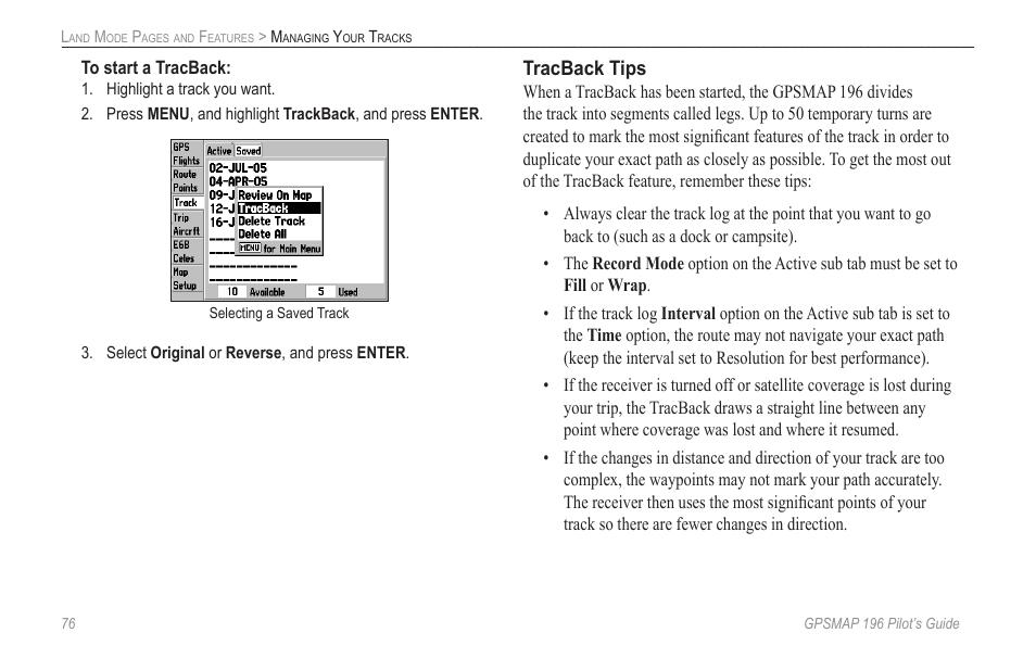 Tracback tips | Garmin GPSMAP 196 User Manual | Page 84 / 132