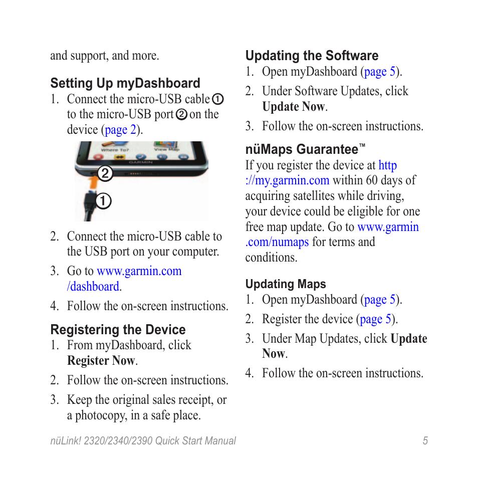 Software updates | Garmin nuLink! 2390 User Manual | Page 5 / 12