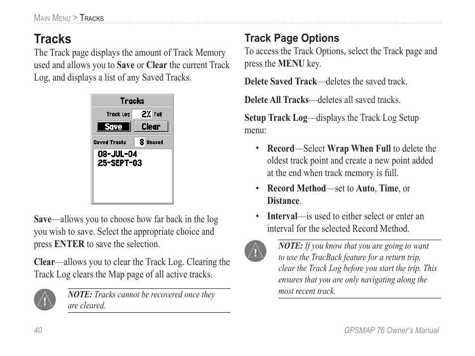 Tracks | Garmin GPSMAP 76 User Manual | Page 46 / 86