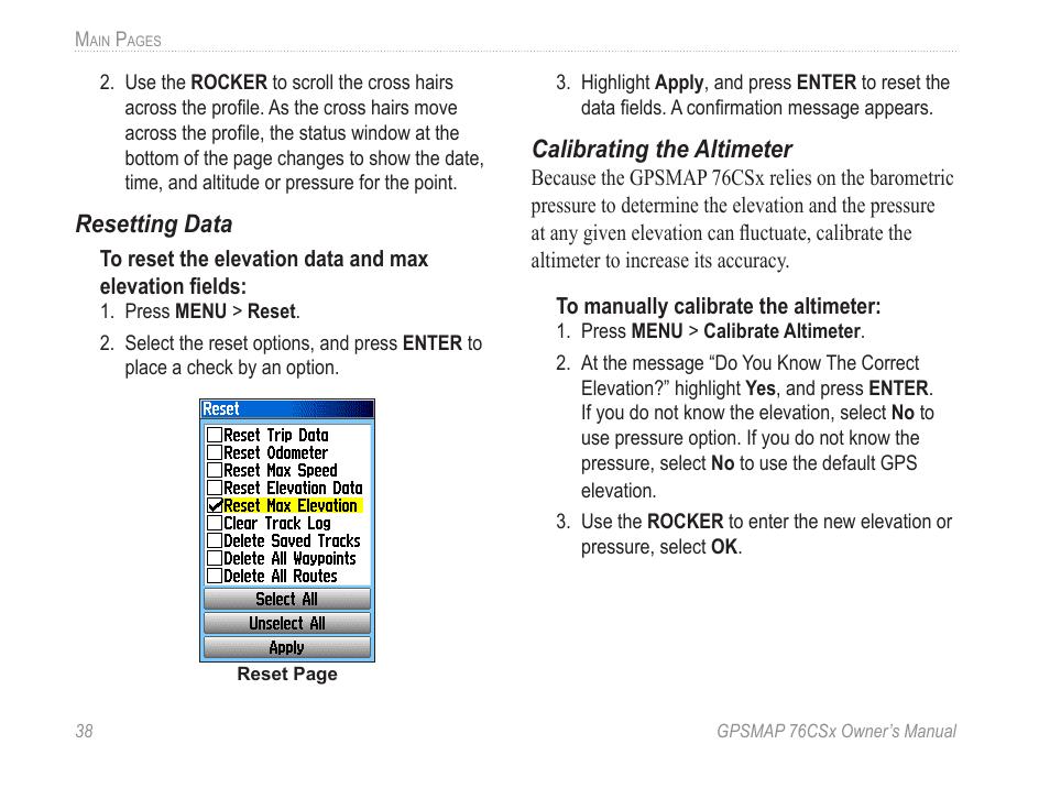 Resetting data, Calibrating the altimeter   Garmin GPSMAP
