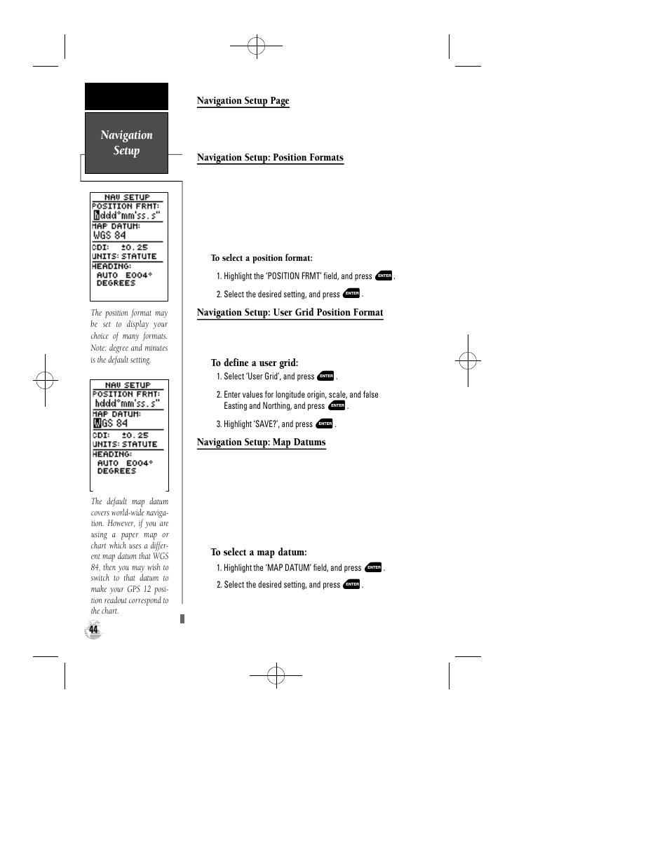navigation setup garmin gps 12 user manual page 48 66 rh manualsdir com
