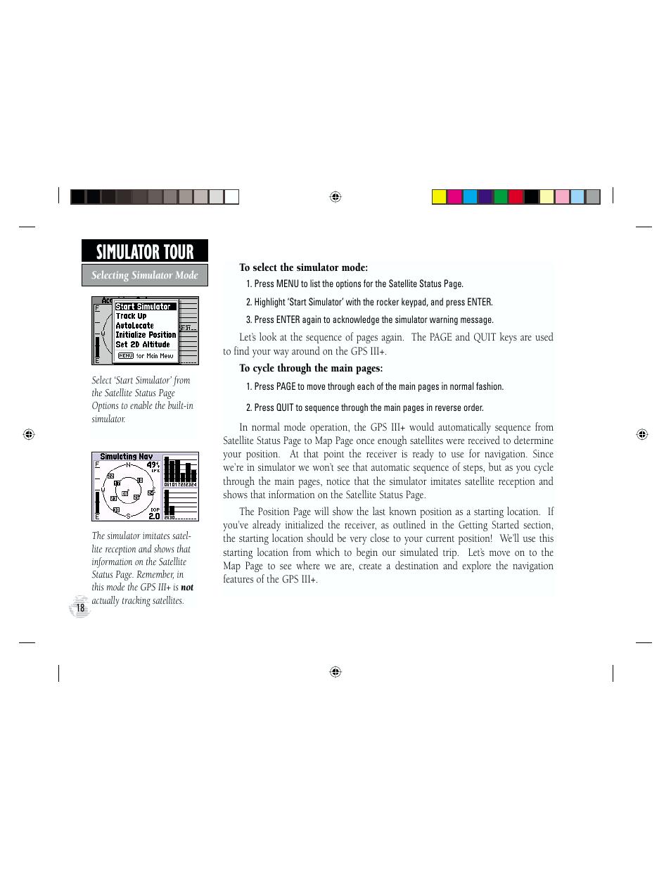 Simulator tour | Garmin GPS III Plus User Manual | Page 28 / 114