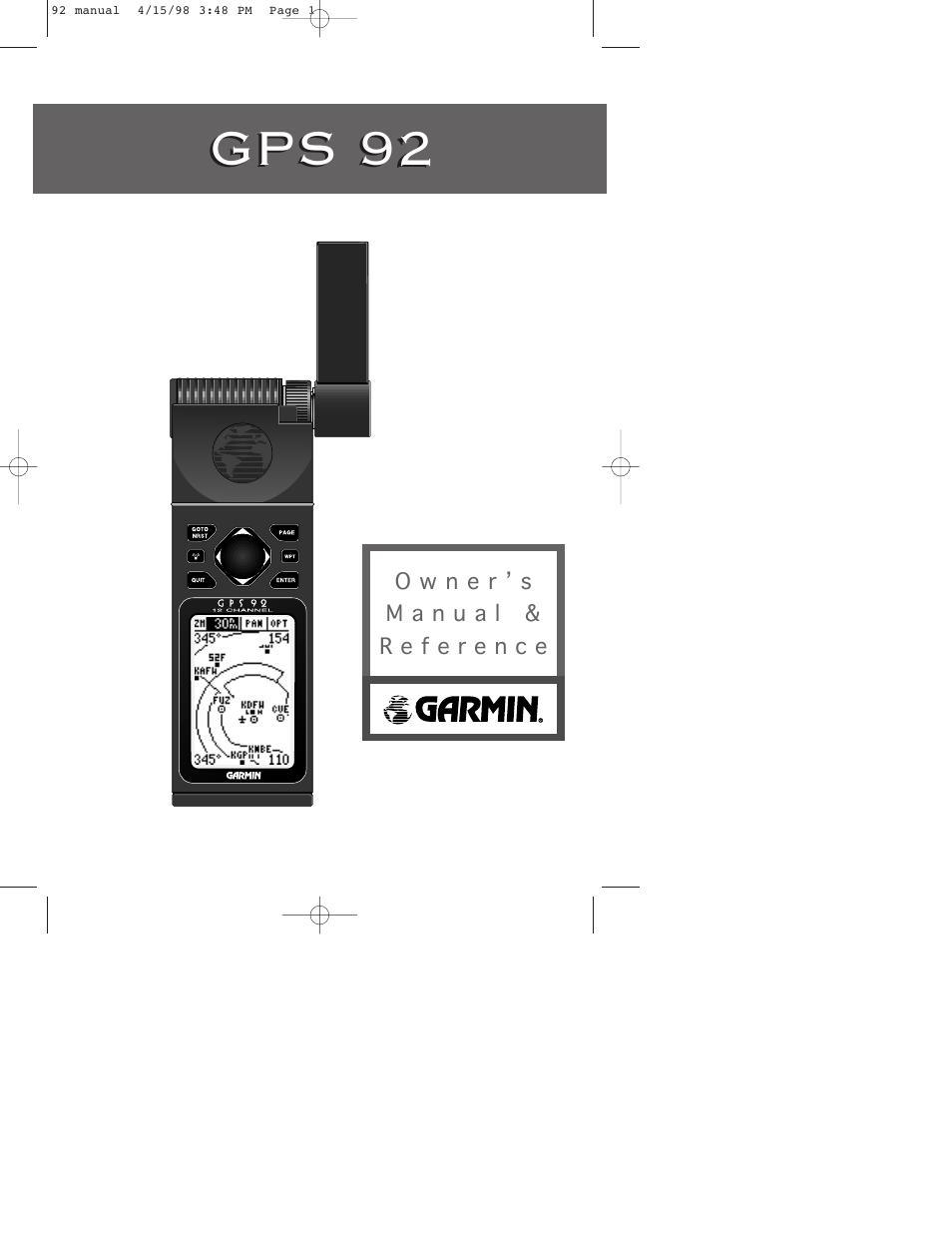 garmin gps 92 user manual 84 pages rh manualsdir com