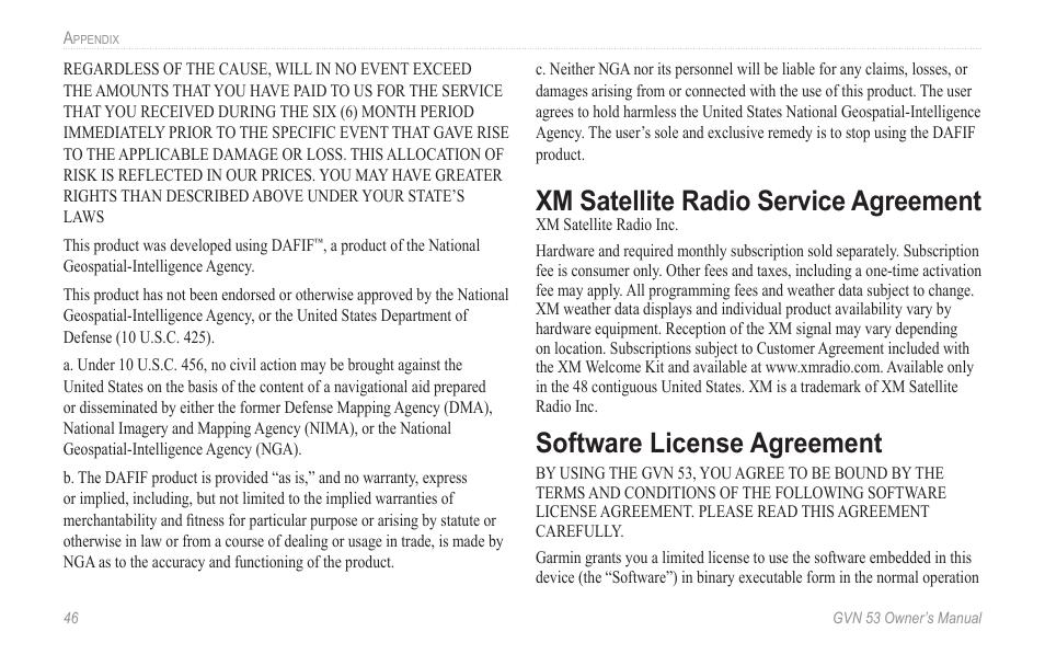 Xm satellite radio service agreement, Xm satellite radio