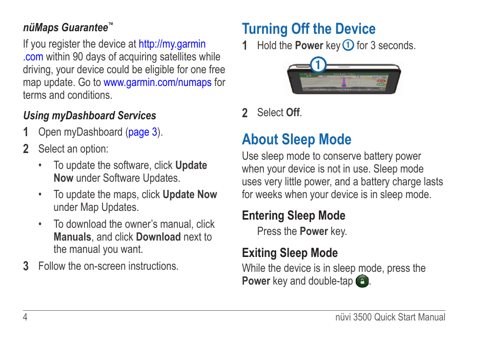 Turning off the device, About sleep mode | Garmin nuvi ...