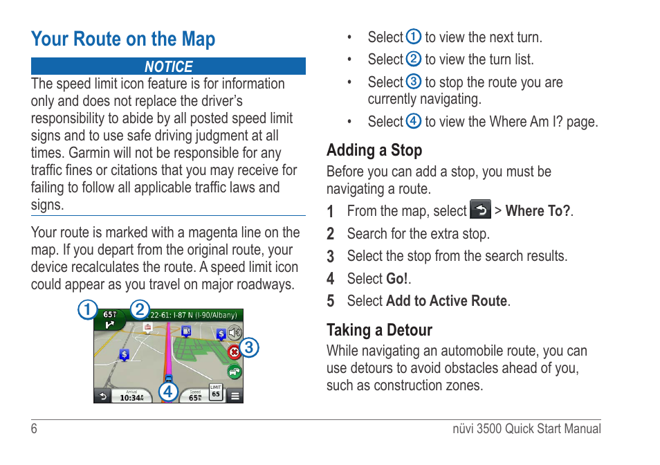 Your route on the map | Garmin nuvi 3590LMT User Manual