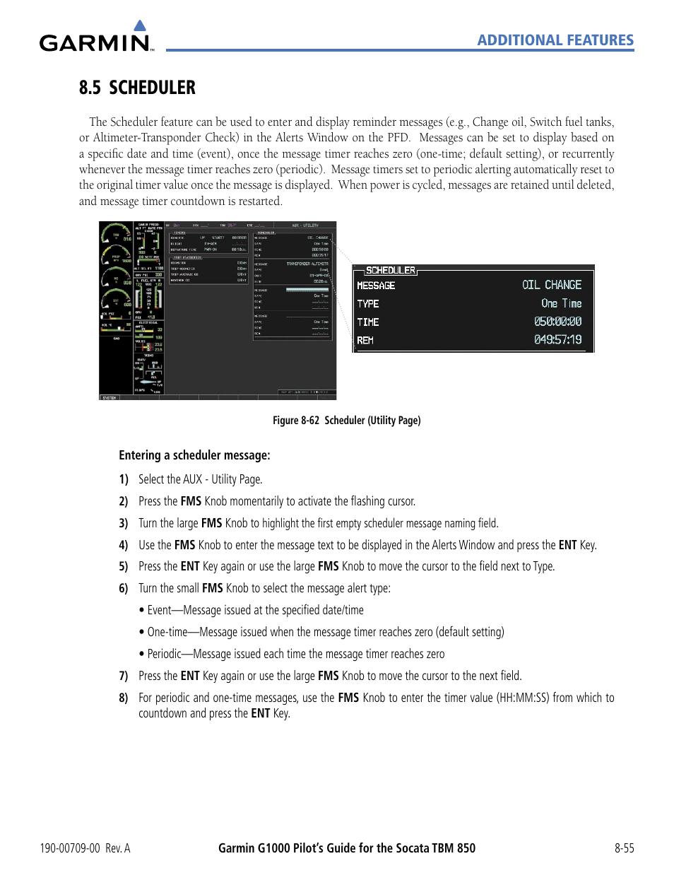 5 scheduler, 5 scheduler -55 | Garmin G1000 Socata TBM 850 User Manual |  Page 487 / 542