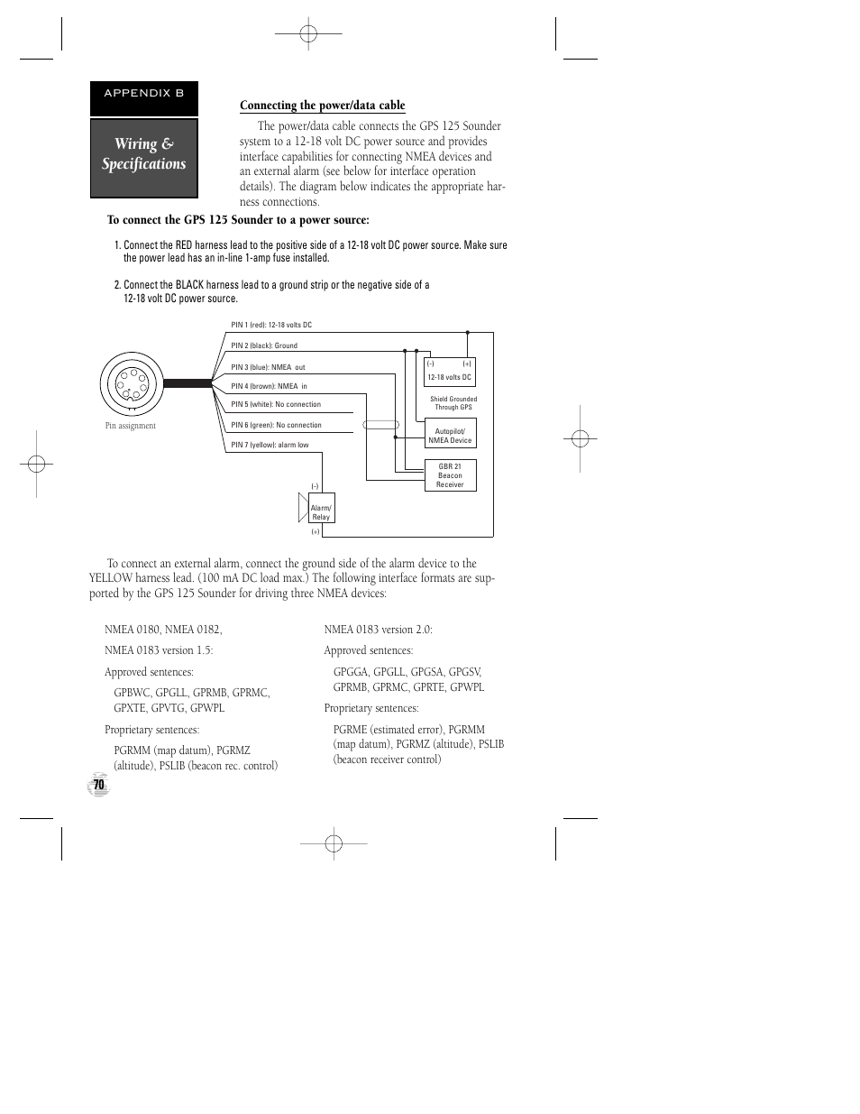 wiring & specifications | garmin gps 125 sounder user manual | page 74 / 84