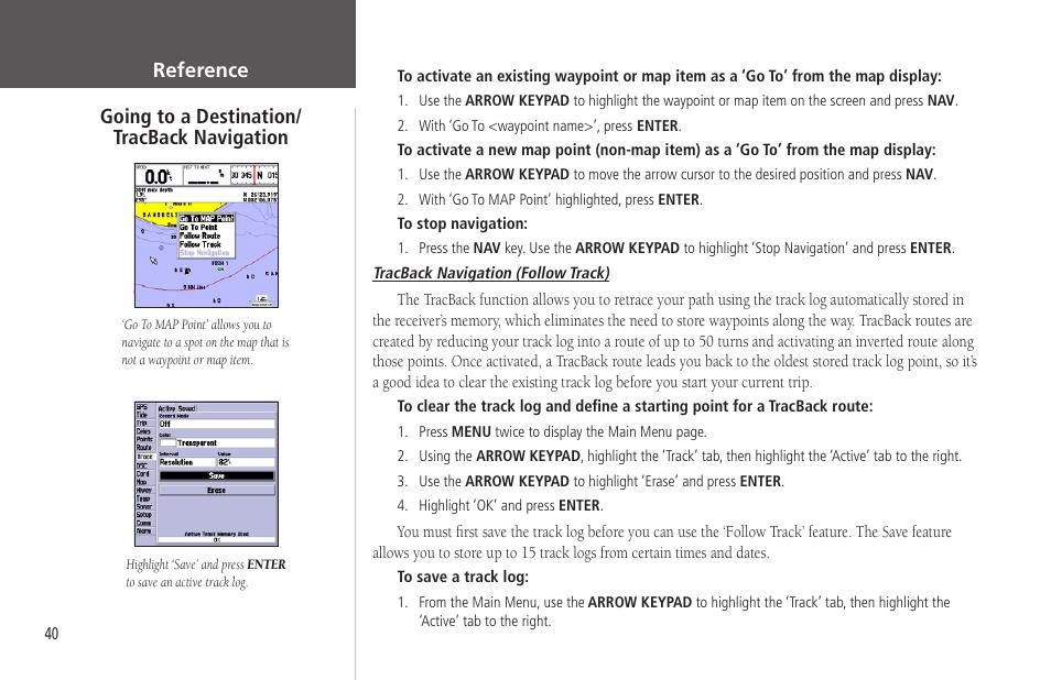 Tracback navigation   Garmin GPSMAP 172C User Manual   Page