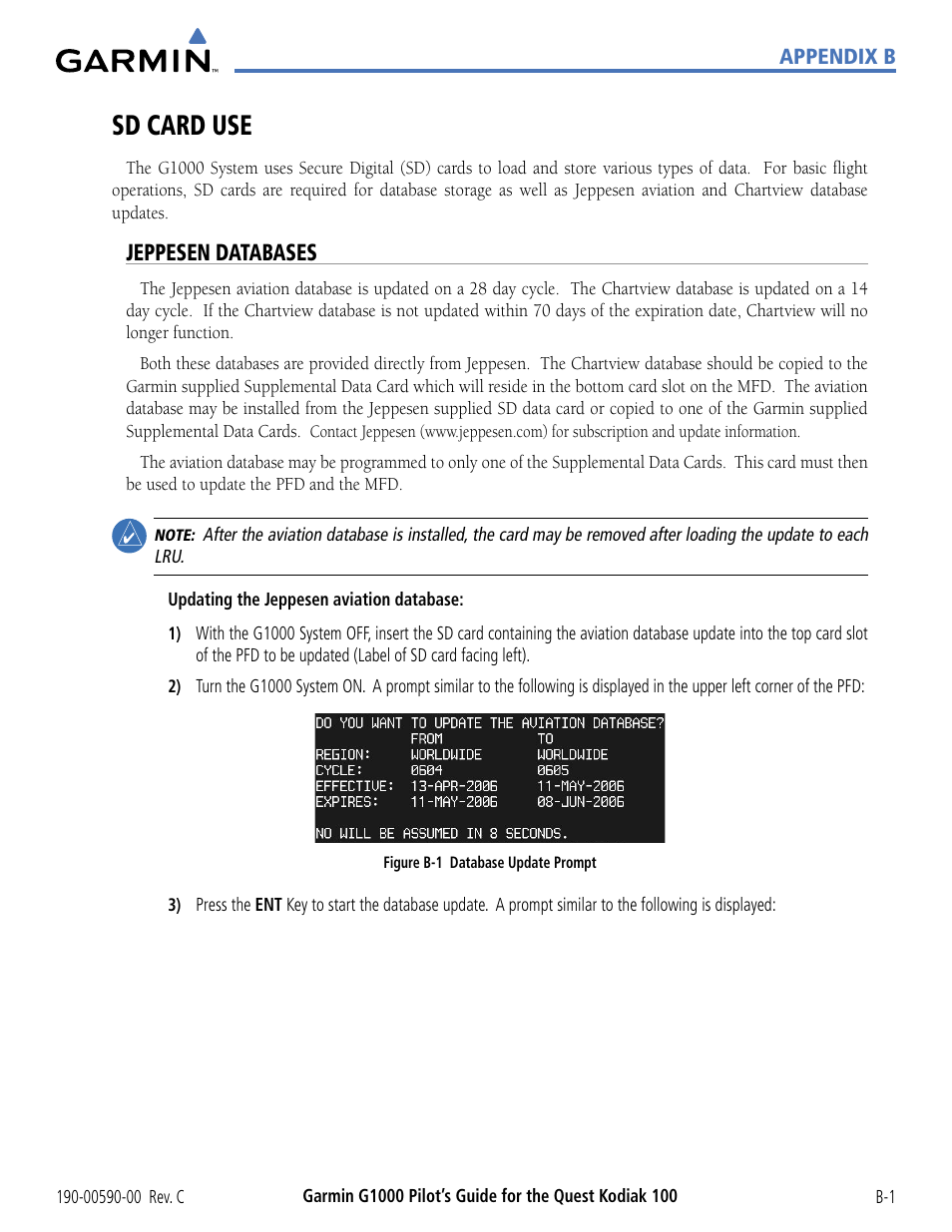 Sd card use, Jeppesen databases | Garmin G1000 Quest Kodiak
