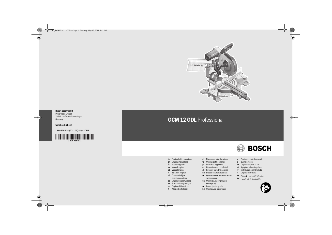 bosch gcm 12 gdl professional user manual 456 pages original mode. Black Bedroom Furniture Sets. Home Design Ideas