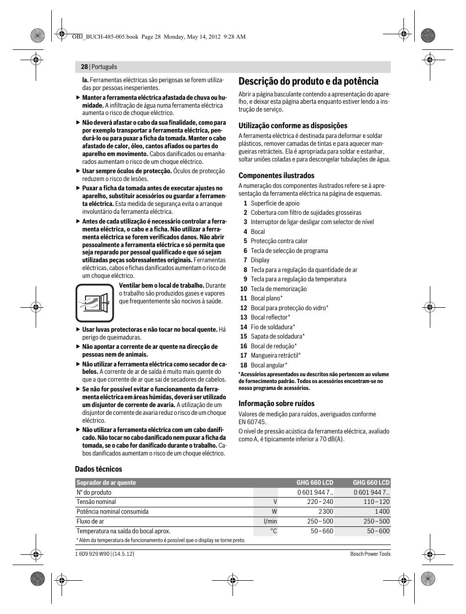 Descrição do produto e da potência | Bosch GHG 660 LCD Professional User  Manual | Page