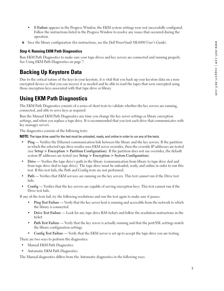 Step 4: running ekm path diagnostics, Backing up keystore data