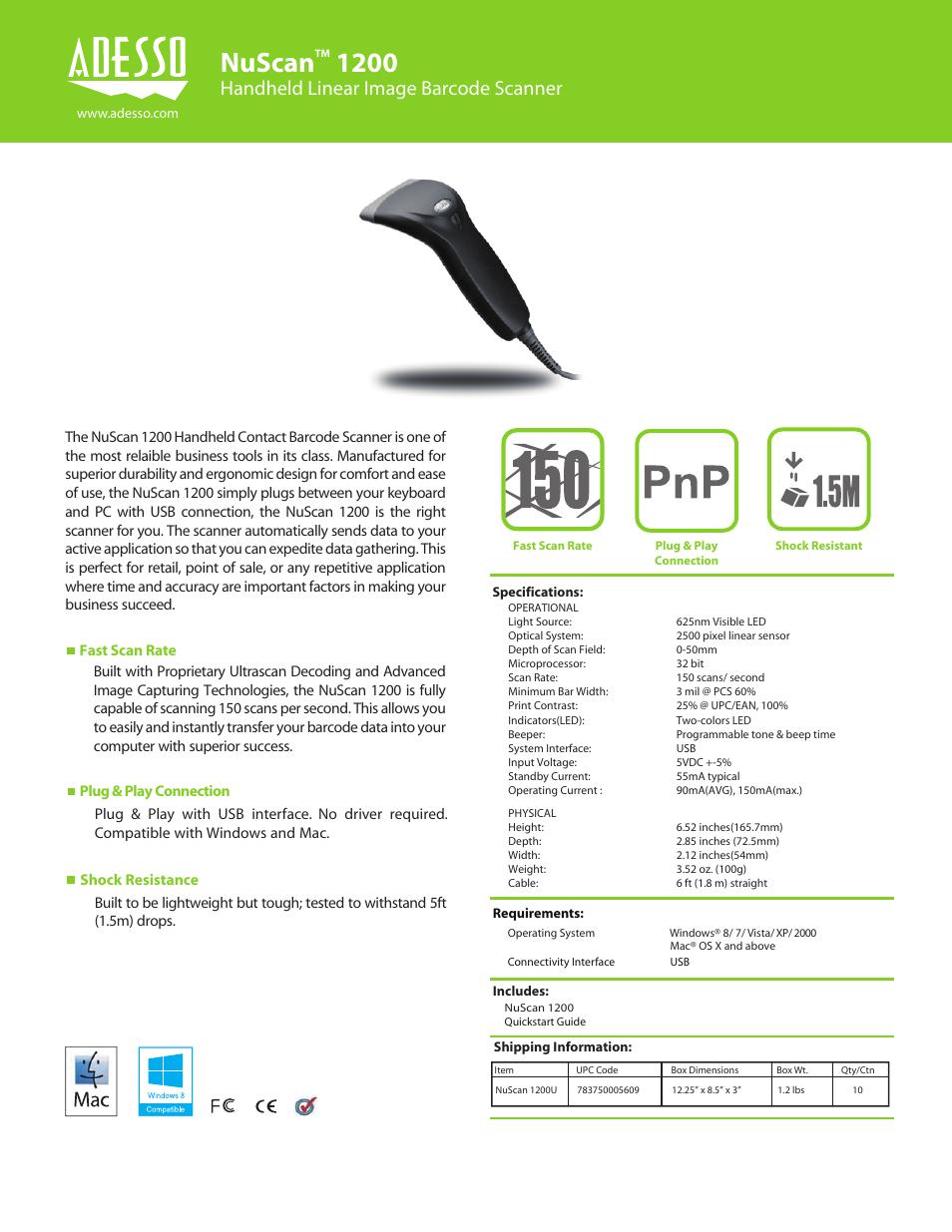 Adesso NuScan 1200U User Manual | 1 page