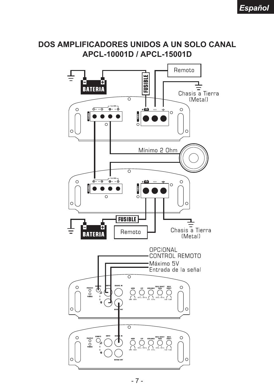 dos amplificadores unidos a un solo canal | audiopipe apcl-15001d es user  manual | page 20 / 22