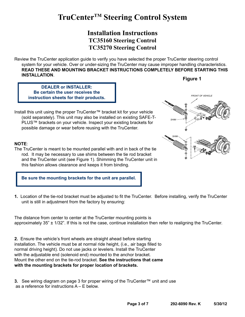Trucenter, Steering control system, Installation instructions | Blue Ox  TC35270 User Manual | Page 3 / 7