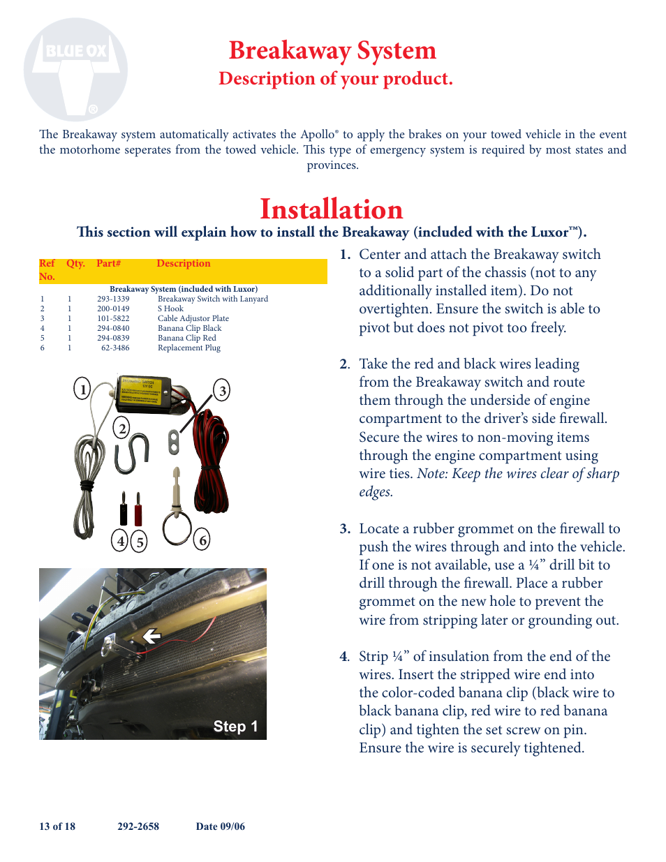 Installation Breakaway System Description Of Your Product Blue How To Wire Switch Ox Bx88193 User Manual Page 16 22