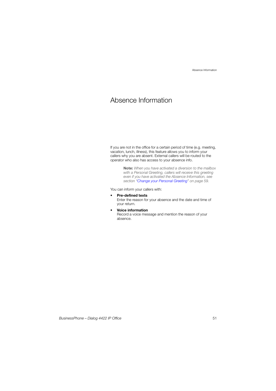 Absence Information Aastra 4422 Ip Office For Businessphone User