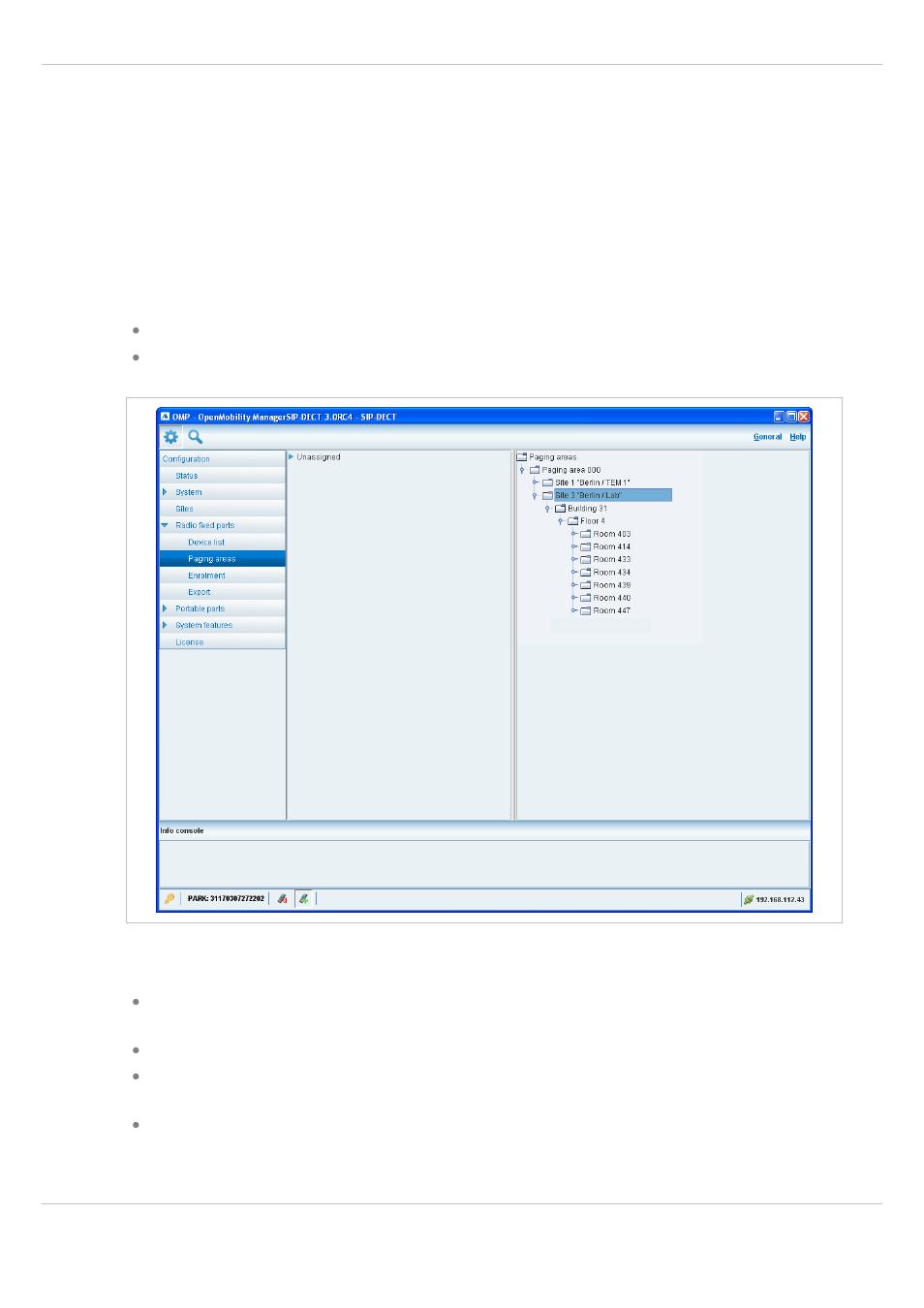 """2 """"paging areas"""" menu, Paging areas"""" menu   AASTRA SIP-DECT (Release"""