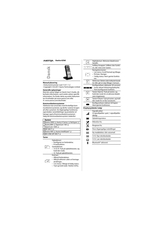 dansk aastra 620d for aastra 400 quick user guide user manual rh manualsdir com iPad Manual User Manual Template