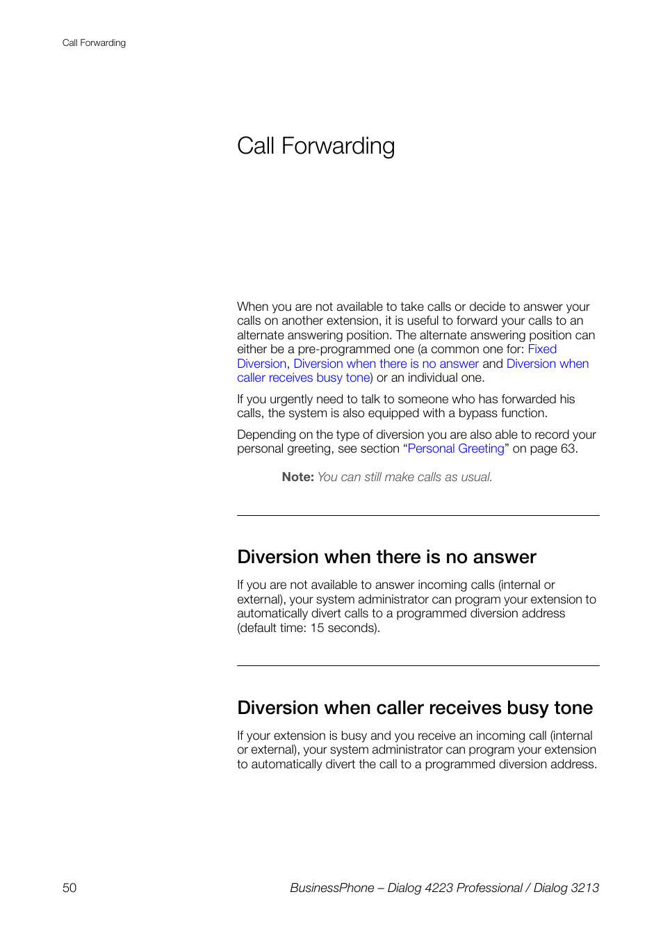 Call Forwarding Diversion When There Is No Answer Diversion When