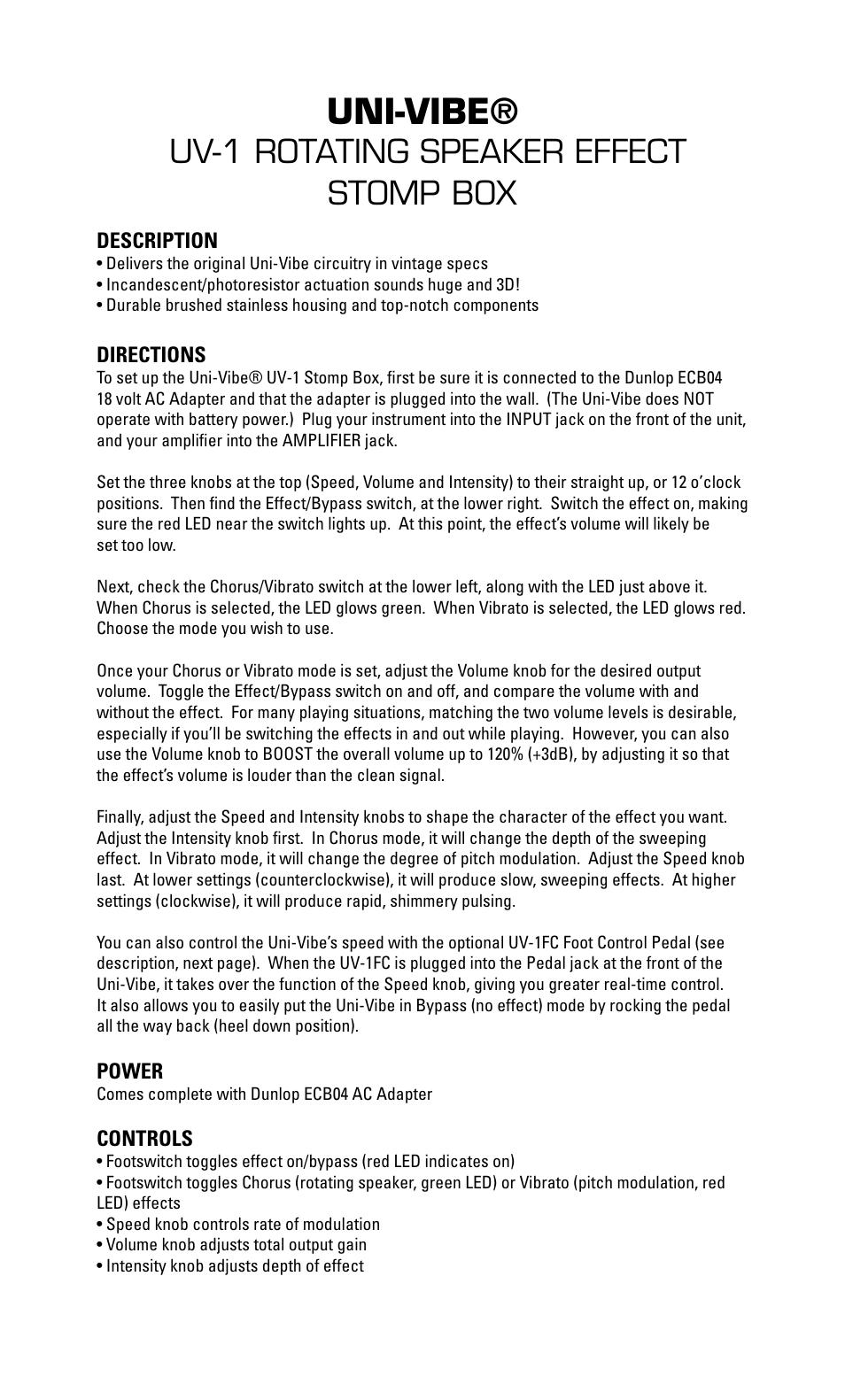 Dunlop Manufacturing UV-1 ROTATING SPEAKER EFFECT User Manual   1 page