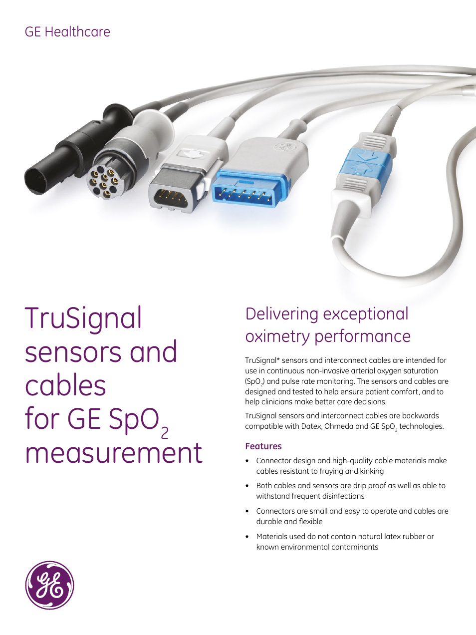 GE Healthcare TruSignal sensors and cables for GE SpO2 measurement User  Manual | 6 pages