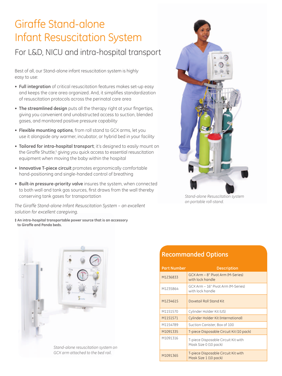 ... resuscitation system, For l&d, nicu and intra-hospital transport,  Recommanded options | GE Healthcare Stand-alone Resuscitation System User  Manual ...