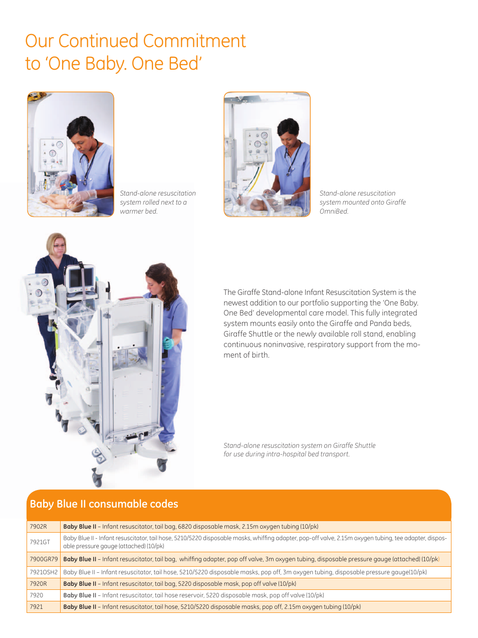 Our continued commitment to 'one baby. one bed, Baby blue ii consumable  codes | GE Healthcare Stand-alone Resuscitation System User Manual | Page 3  / 4