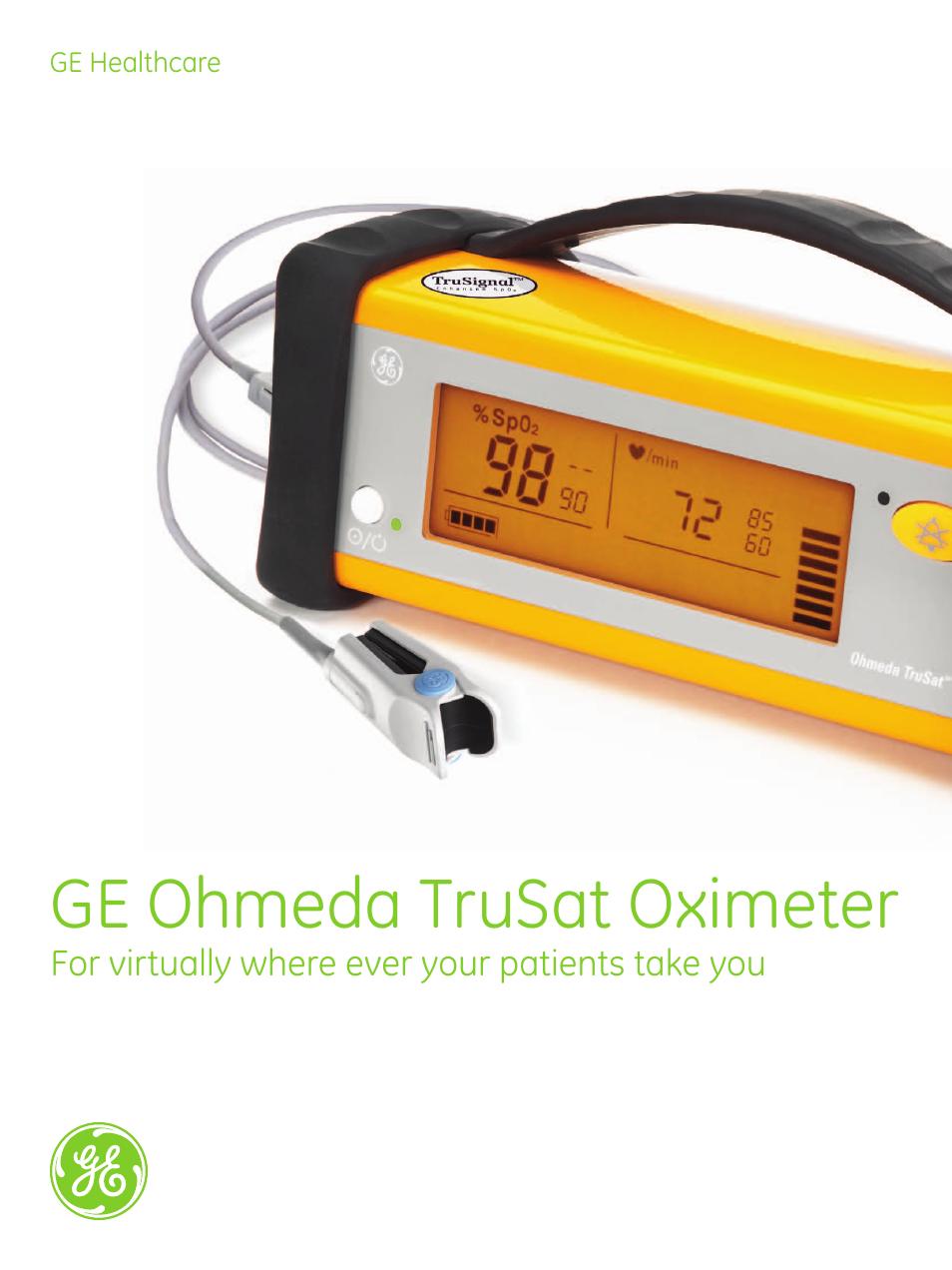 Ge healthcare ge ohmeda trusat oximeter user manual | page 6 / 8.