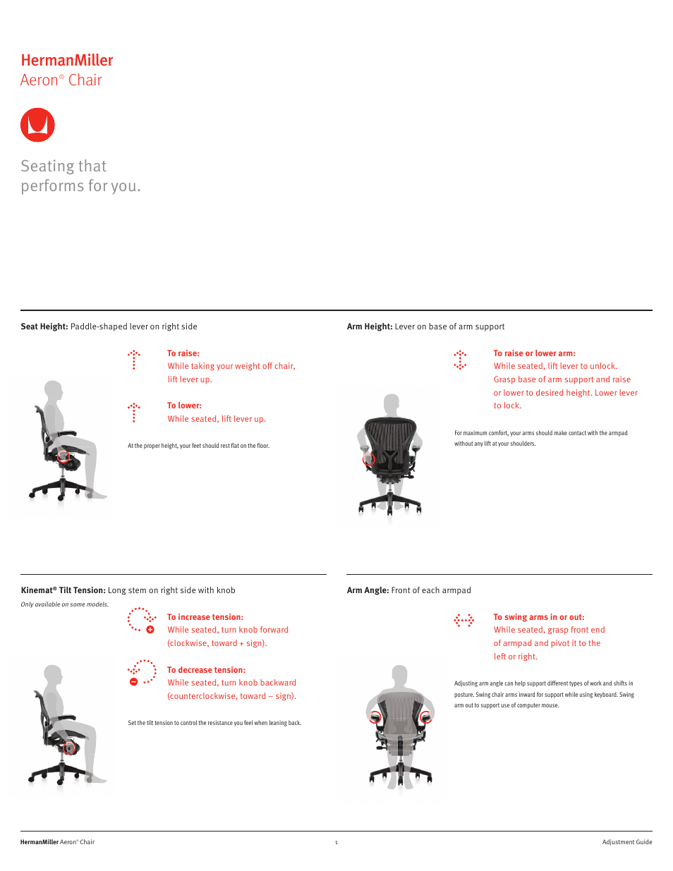 Enjoyable Herman Miller Aeron Chairs User Adjustments User Manual Ocoug Best Dining Table And Chair Ideas Images Ocougorg