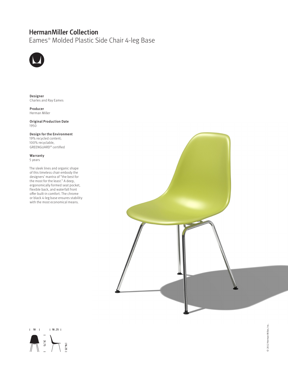Herman Miller Eames Molded Plastic Side Chair 4 Leg Base   Product Sheet  User Manual | 1 Page