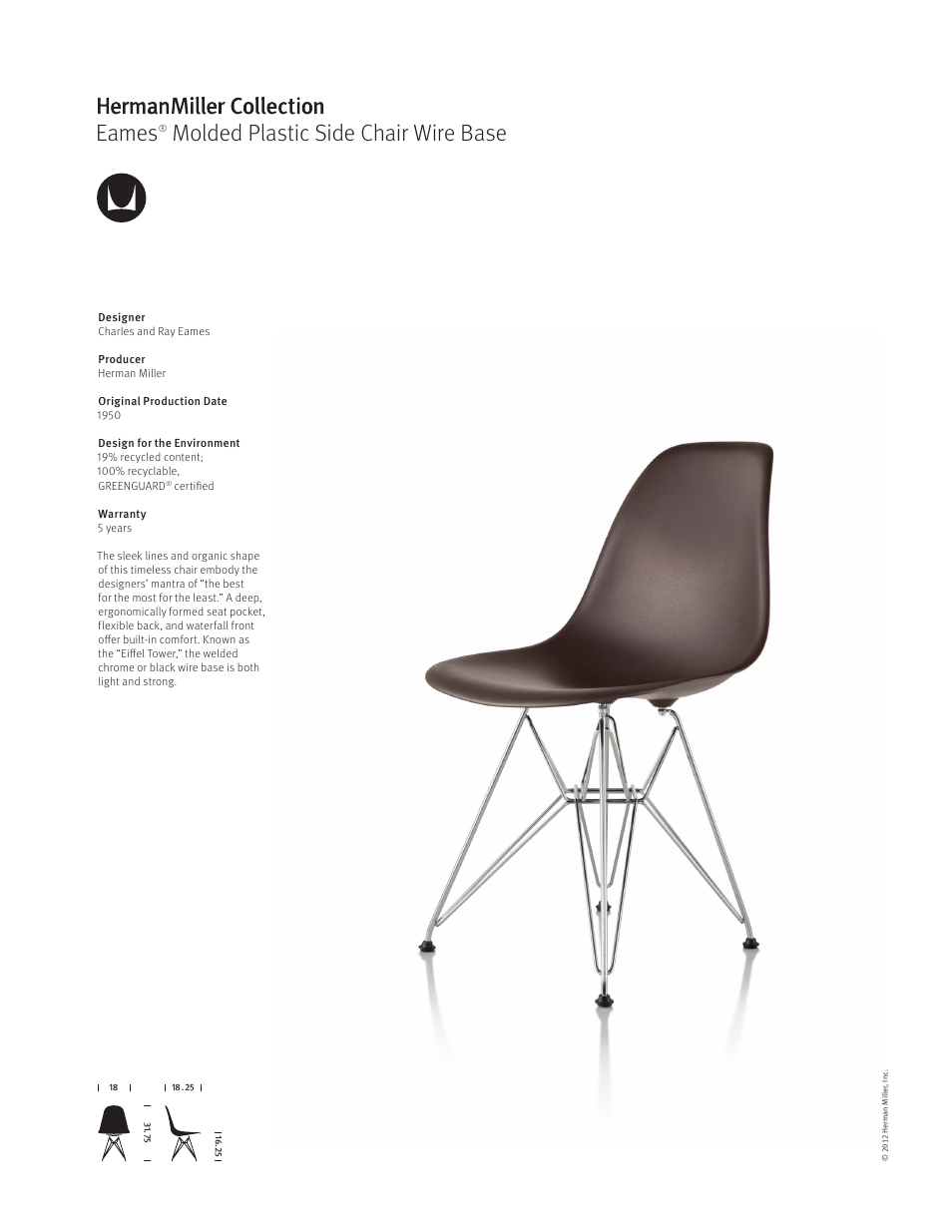 Herman Miller Eames Molded Plastic Side Chair Wire Base   Product Sheet  User Manual | 1 Page